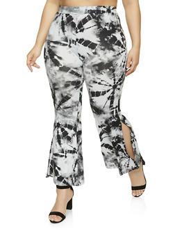Plus Size Tie Dye Split Flared Pants - 1961001442915