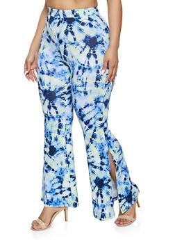 Plus Size Tie Dye Split Flared Pants - 1961001443915
