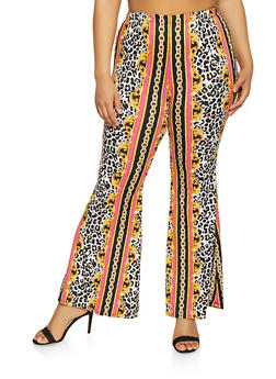 Plus Size Leopard Chain Print Flared Pants - 1961001446006