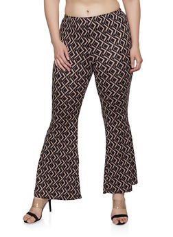 Plus Size Geometric Pattern Flared Pants - 1961001446160