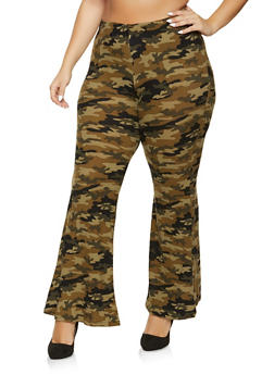 Plus Size Flared Camo Pants - 1961001446611