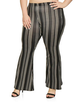 Plus Size Soft Knit Striped Flared Pants - 1961001446626