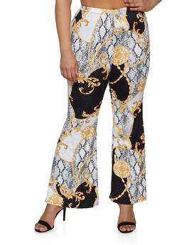 Plus Size Status Snake Print Flared Pants - 1961001446666