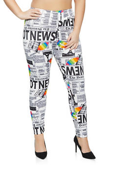 Plus Size Newspaper Lip Print Pull On Pants - 1961020623196