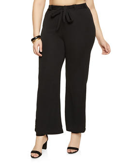 Plus Size Textured Knit Dress Pants - 1961038340620