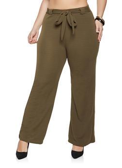 Plus Size Textured Knit Dress Pants - 1961038340620