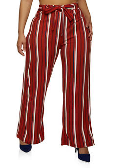 Plus Size Tie Waist Striped Palazzo Pants - 1961038340621
