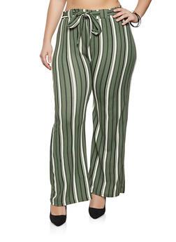 Plus Size Tie Waist Striped Palazzo Pants - 1961038340621