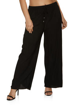 Plus Size Pleated Drawstring Waist Pants - 1961038340622