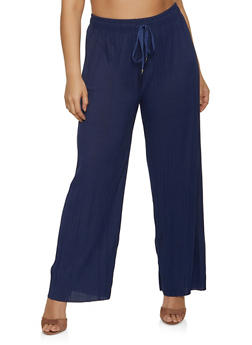 Plus Size Pleated Drawstring Waist Pants - 1961038340622