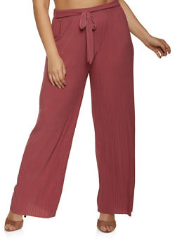 Plus Size Pleated Tie Front Palazzo Pants - 1961038340623