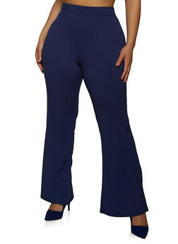 Plus Size Ribbed Knit Flared Pants - 1961038340625