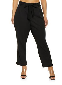 Plus Size Tie Front Dress Pants - 1961038342623
