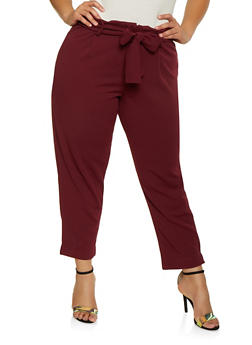 Plus Size Tie Front Dress Pants - 1961038342623