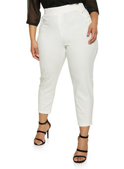 Plus Size Lace Up Pull On Pants - 1961038342627