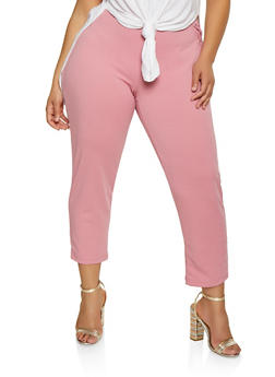 Womens Plus Size Stretch Knit Pants