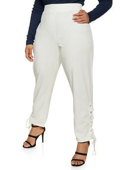 Plus Size Lace Up Hem Pants - 1961038342628