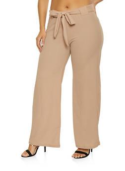 Plus Size Tie Front Dress Pants - 1961038343501