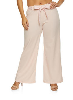 Plus Size Tie Front Dress Pants - 1961038343501