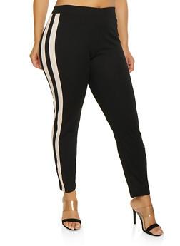 Plus Size Side Tape Dress Pants - 1961038343502
