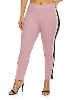 Plus Size Side Tape Dress Pants - 1961038343502