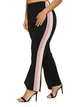Plus Size Striped Side Dress Pants - 1961038343504