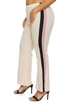 Plus Size Striped Side Dress Pants - 1961038343504