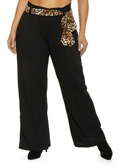 Plus Size Tie Waist Dress Pants - 1961038343505