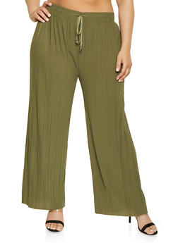 Plus Size Pleated Palazzo Pants | 1961038349188 - 1961038349188