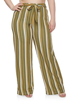 Plus Size Striped Tie Front Palazzo Pants - 1961038349191