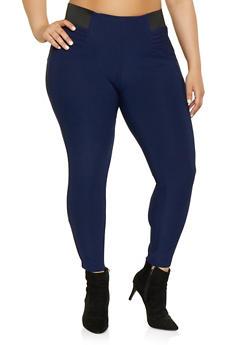 Blue Plus Size Stretch Pants