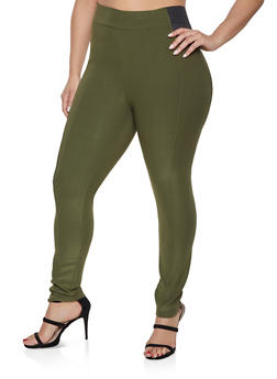 Plus Size Elastic Waist Pull on Pants - 1961038349195