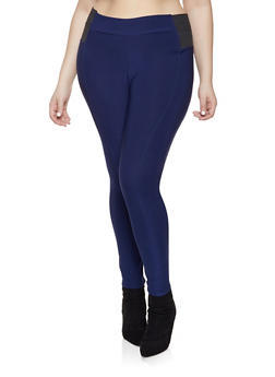 Plus Size Elastic Waist Pull on Pants - Blue - Size 2X - 1961038349195