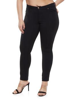 Plus Size 5 Pocket Push Up Ponte Pants - 1961054260012