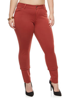 Plus Size Solid Jeggings - 1961054260807