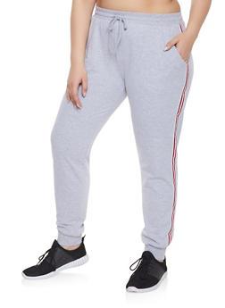 Plus Size Striped Tape Trim Sweatpants - 1961054267101