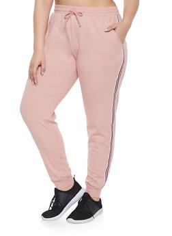 Plus Size Striped Tape Trim Sweatpants - 1961054267101