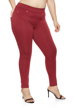 Plus Size Tummy Tuck Scuba Knit Pants - 1961056570020