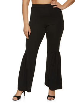 Plus Size Flared Crepe Knit Pants - 1961056570110