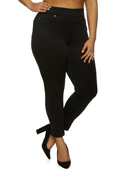 Plus Size Solid Scuba Pull On Pants - 1961056572012
