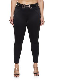 Plus Size Buckle Detail Scuba Pull On Pants - Black - Size 3X - 1961056574064