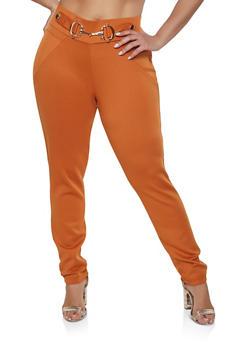 Plus Size Buckle Detail Scuba Pull On Pants - 1961056574064
