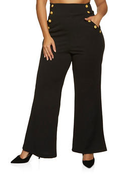 Plus Size Crepe Sailor Pants - 1961056574369
