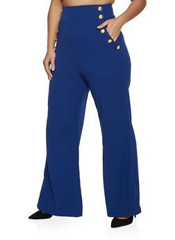 Plus Size Crepe Sailor Pants - 1961056574369