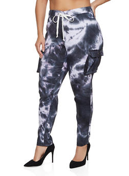 Plus Size Tie Dye Stretch Cargo Pants - 1961056574901