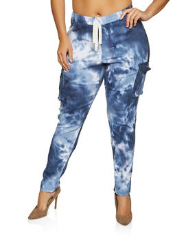 Plus Size Tie Dye Stretch Cargo Pants - 1961056574901