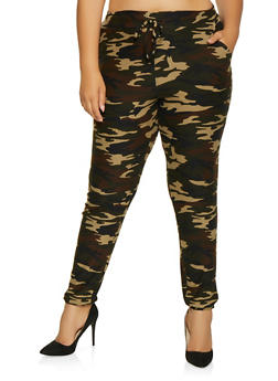 Plus Size Soft Knit Camo Joggers - 1961060580014