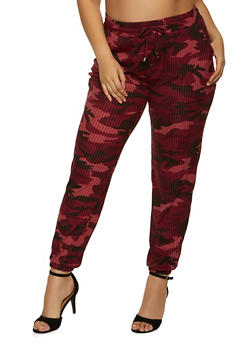 Plus Size Camo Ribbed Joggers - 1961060581783