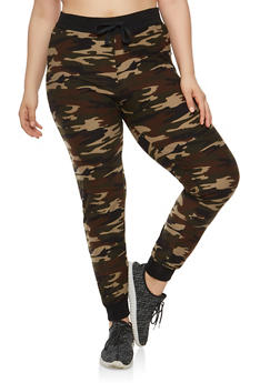 Plus Size Soft Knit Camouflage Joggers - 1961060582047