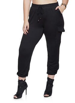 Plus Size Solid Soft Knit Joggers - 1961060582501
